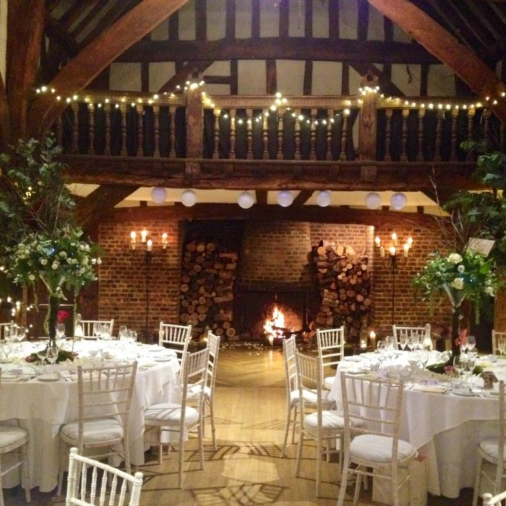 Beautiful Tithe Barn Great Fosters Hotel Surrey Roaring fire, cosy& romantic winter wedding