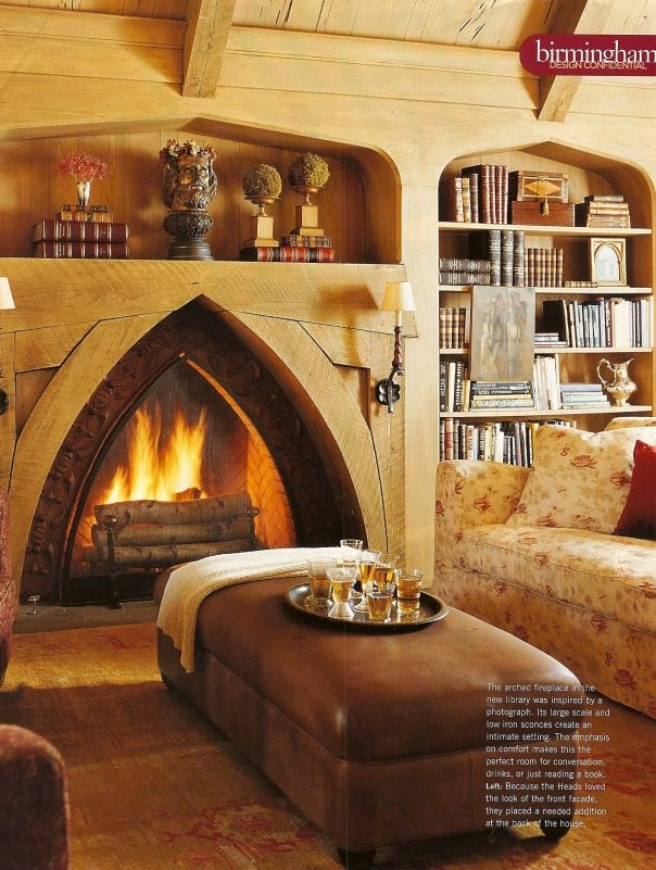 Love this fireplace and the book shelves for the library/study