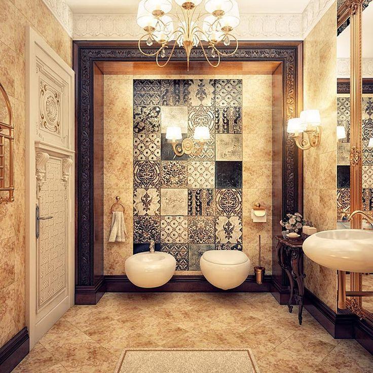 ванная в восточном стиле с инсталляцией