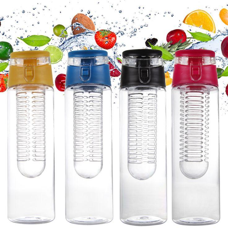 800ML Fruit Water Bottle Fruit Infuser Lemon Cup Juice Water Make Bottle Sport Health Detox Water Bottle Flip Lid for Travel
