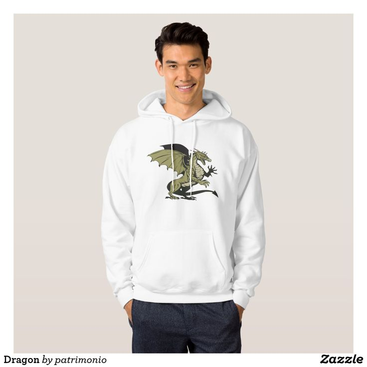 Dragon Hoodie. Hooded sweatshirt for men with an illustration of a dragon viewed from the side done in cartoon style. #hoodie #dragon #lizard