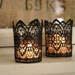 Glue lace over glass for easy beautiful decor