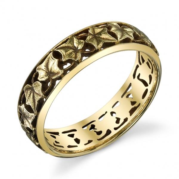 Van Craeynest hand-engraved Art Deco wedding ring, design No. 1913. Ivy band motif.
