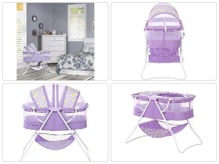 Portable #Baby #Sleeper #Bassinet #Purple #Infant Folding #Canopy #Nursery #Newborn