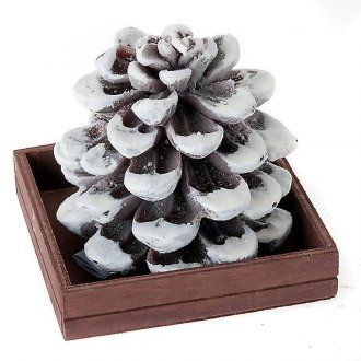 Christmas candle acorn covered with snow | online sales on HOLYART.co.uk