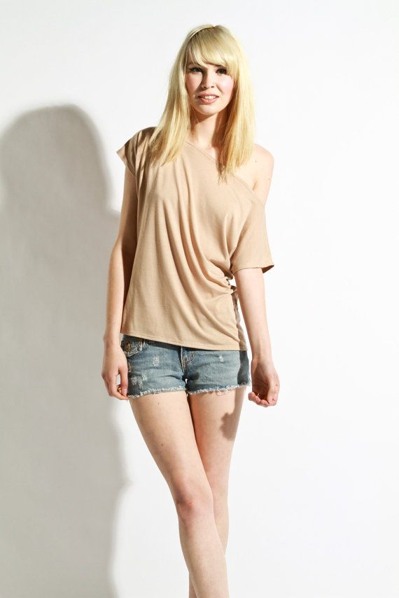 Womens Shirt  Beige Tunic Womens Blouse Jersey Small  by lamixx, $30.00