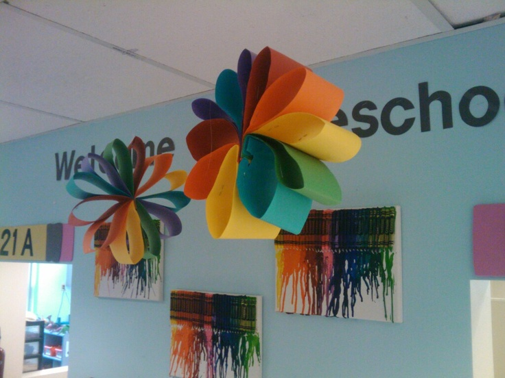 Construction paper flower it can be use for a party for Art and craft for school decoration