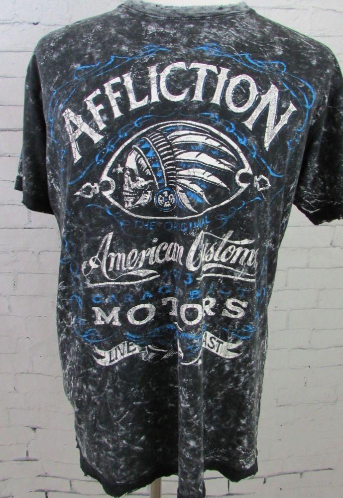Mens Affliction American Customs Motor Spirit 1973 T- Shirt USA MADE Size Large  #Affliction #GraphicTee