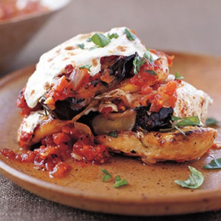 Grilled Chicken and Eggplant Stacks with Fire-Roasted Tomato Sauce - Rachael Ray Every Day