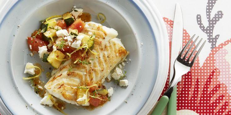 Boodschappen - Kabeljauw met courgette, tomaat en feta