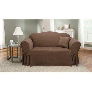 Box Cushion Sofa Slipcover By Sure Fit Reviews Loveseat Slipcovers Slipcovers Cushions On Sofa