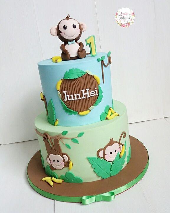 Awe Inspiring 1St Birthday Boy Monkey Birthday Cakes Monkey Birthday Parties Personalised Birthday Cards Veneteletsinfo