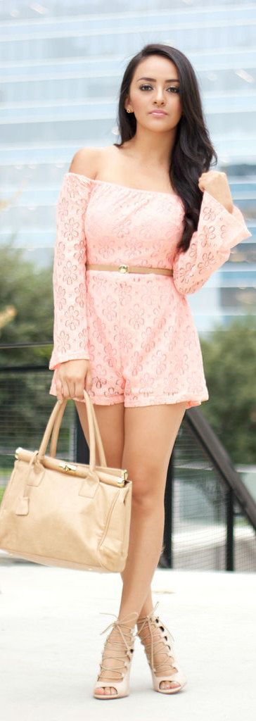 Off The Shoulder Lace Romper / Fashion By MayteDoll