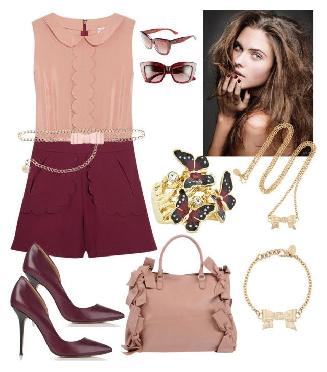 """""""REDValentino"""" by christinacastro830 ❤ liked on Polyvore featuring Andrew Hamilton Crawford, RED Valentino, Lucy Choi London and Valentino"""