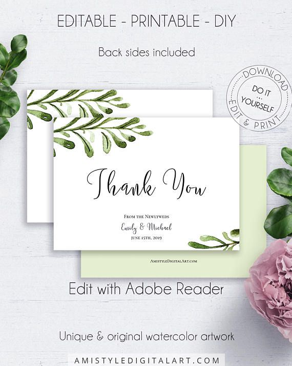 Greenery Wedding Thank You Card With A Beautiful And Unique Hand Drawn Watercolor Nature Design In Thank You Card Template Thank You Cards Free Holiday Cards