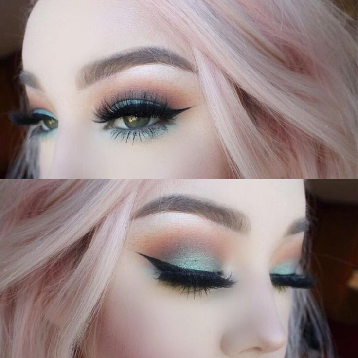 Pastel hair, soft blended colorful eye