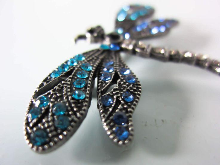 Blue dragonfly brooch, Dragonfly pin, Rhynstone and marcasite brooch, Sparkly insect brooch, gift for women, mothers day or bithday gift. by thevintagemagpie01 on Etsy