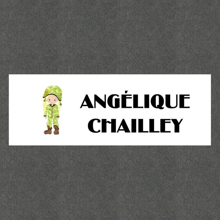 """16 Etiquettes scolaires personnalisées Thème """"Militaire Fille"""" : Stickers par creerpourvous"""