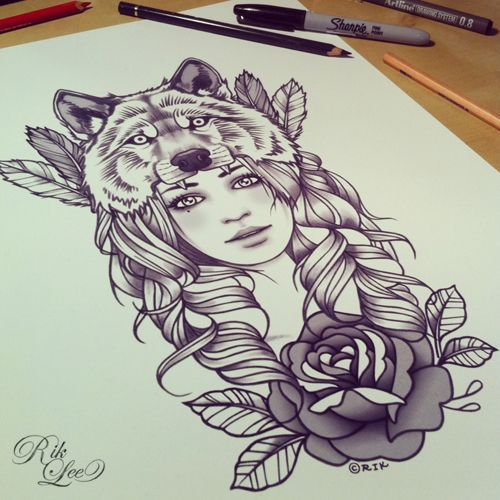 girl with wolf head tattoo meaning - Sök på Google (Or the wolf at the top of the sugar skull)