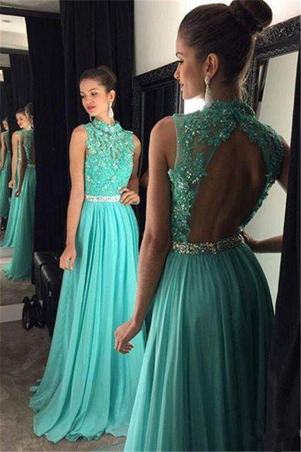 A Line High Neck Prom Dresses ,Beads Appliques
