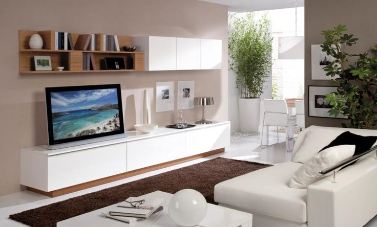 High Gloss White and Walnut TV Stand and Wall Storage System - White wall and floor units with walnut feature shelf and plinth