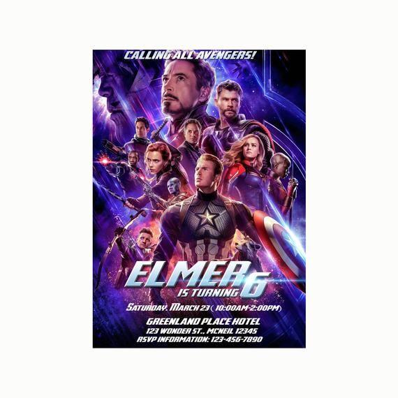 Avengers EndGame Invitation, Avengers Birthday Invitation