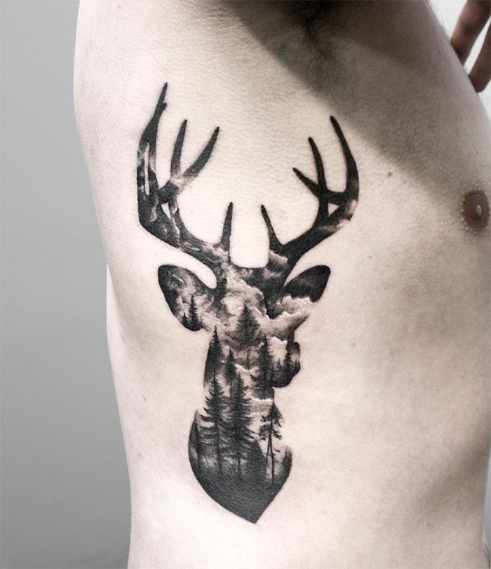 Double exposure stag deer tattoo by @Shirmaineanne at Soular Tattoo - Christchurch - New Zealand