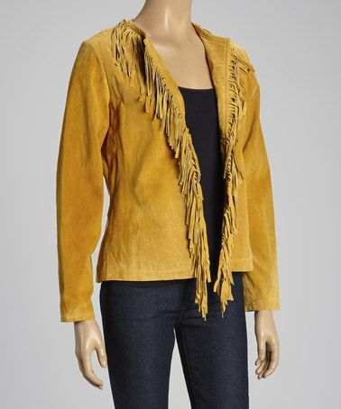 Take a look at this Yellow Fringe Suede Jacket by Live A Little on #zulily today!