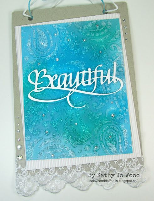 "New Elizabeth Craft Designs Release!  ""Beautiful"" mixed media wall hanging using gorgeous Beautiful die, Ranger Ink and Faber-Castell products."