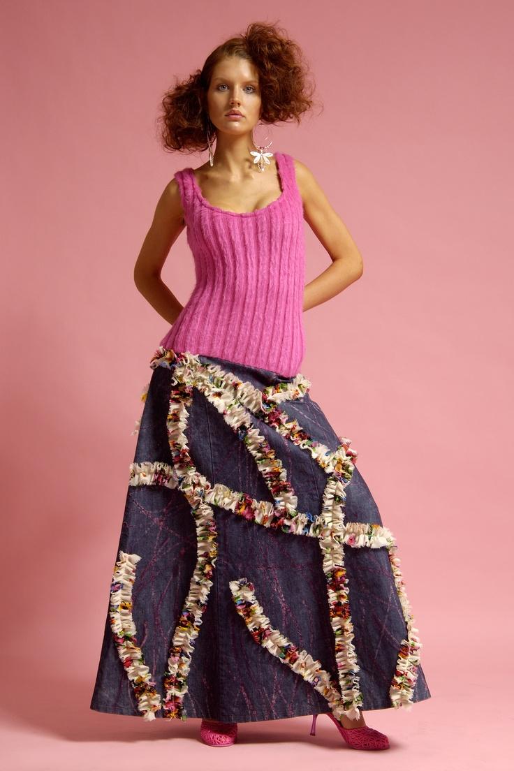 Model Wears 'Lotus' Wool/Cotton-Denim Mix, Handpainted Long A-line Dress...