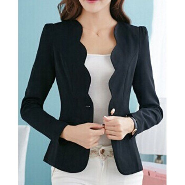 $15.19 Simple Design V-Neck Long Sleeve Solid Color Blazer For Women