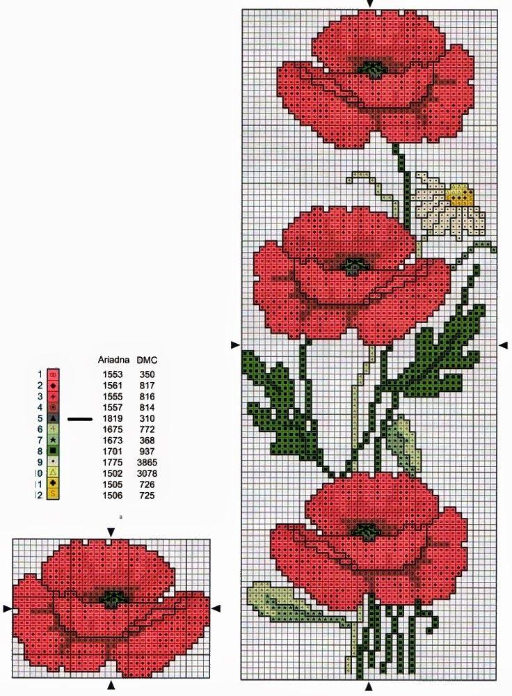 schema+punto+croce-papaveri.jpg (736×1000)