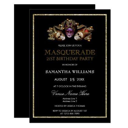 Glamorous Gold Glitters  Masquerade 21st Birthday Card - invitations custom unique diy personalize occasions