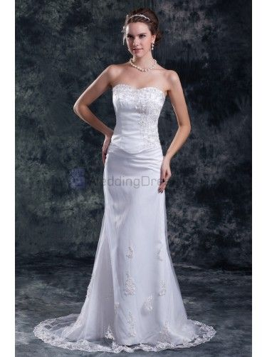 Net Sweetheart Sweep Train Sheath Embroidered Wedding Dress