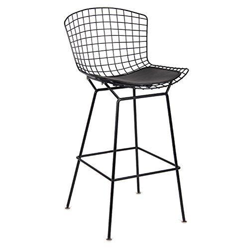 Fine Mod Imports Black Wire Counter Chair, Black