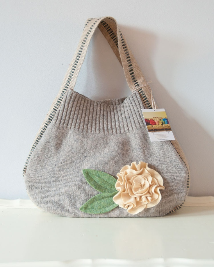 Made from a recyled sweater. https://eismandesign.com/products-page/bags-and-totes/handbag-tote-74#