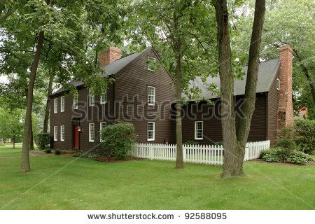 The Exterior Of An 18th Century Reproduction Primitive Colonial Style House Salt Box Homes
