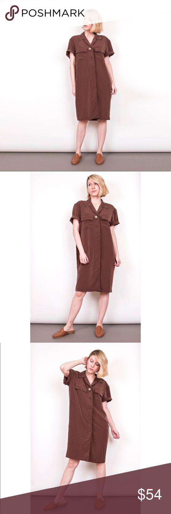 Vintage 90s brown minimalist sack dress - Vintage circa 1990s brown minimalist sack dress. Hidden button front closure. 100% polyester. Best fits modern S/M/L depending on desired fit.  Model stands 5'4 for reference  Shoulder-19 Sleeve-9 Bust-40 Waist-44 Length-37 Vintage Dresses Midi