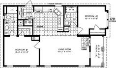 Manufactured Home Floor Plan: The Imperial Model IMP-6402A  2 Bedrooms, 2 Baths