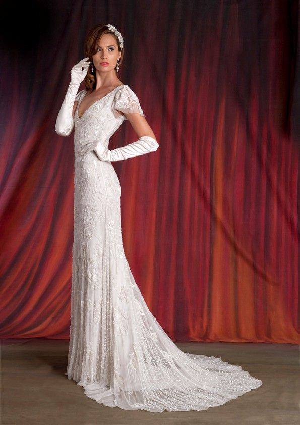 Eliza Jane Howell - Jayne.  An elegant, simple cut and draped in beautiful beading from head to toe.