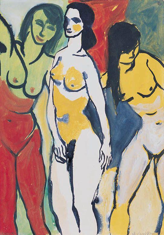 Andrzej Wróblewski - Kobiety 1955, gwasz, tusz, papier
