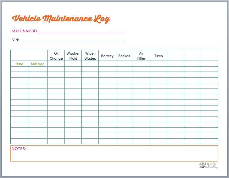 car maintenance sheet