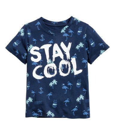 Camiseta con motivo estampado   Azul oscuro/Flamenco   Niños   H&M CO