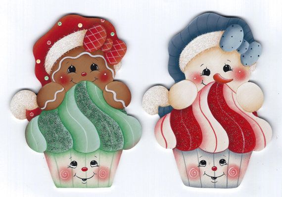 Christmas Cupcakes Snowman and Gingerbread por GingerbreadCuties