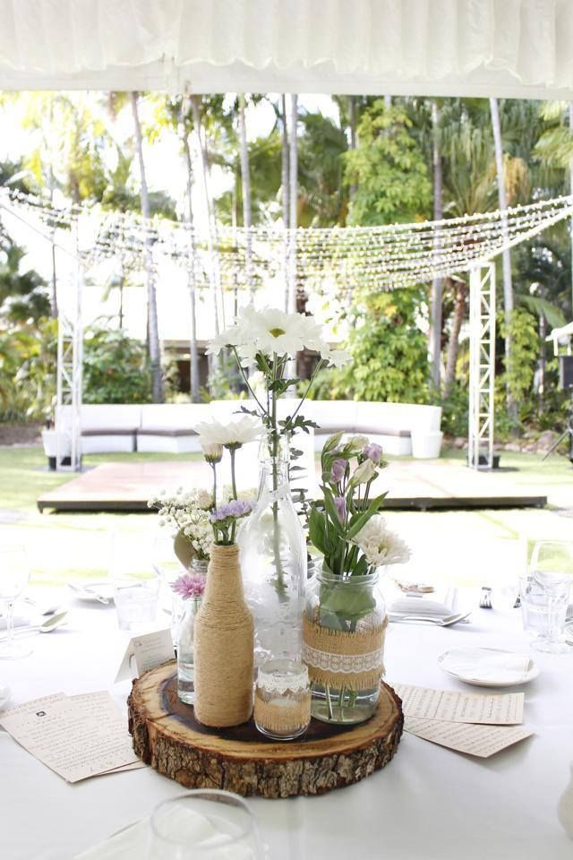 Outdoor Wedding Reception - Mercure Townsville - Rustic - Vintage - Marquee - Dance Floor - Centrepiece