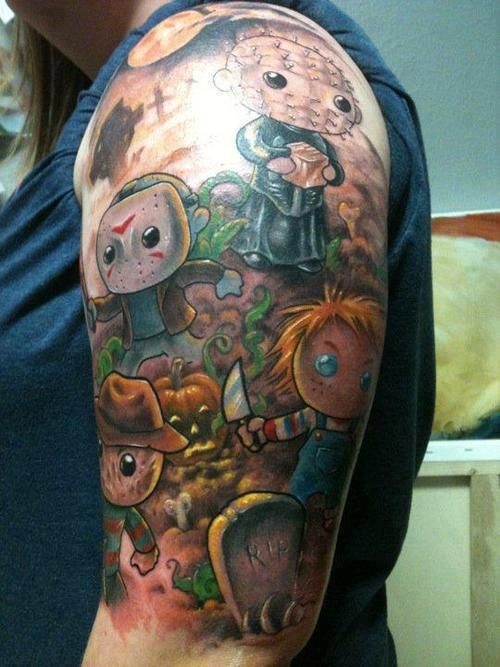 Horror Tattoo - cartoon-style Freddy, Jason, Chuckie, Pinhead.....I love this a little too much ....