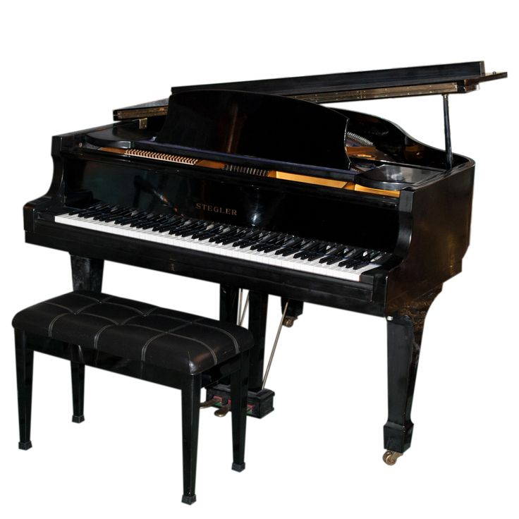 Lot #153: Stegler Baby Grand Piano  A beautiful baby grand piano from Stegler. in a lovely. polished. black color. It is in near-perfect condition. and makes a beautiful sound  CIRCA: 1980 ORIGIN: DIMENSIONS: 54″ L x 56″ W x 52″ H