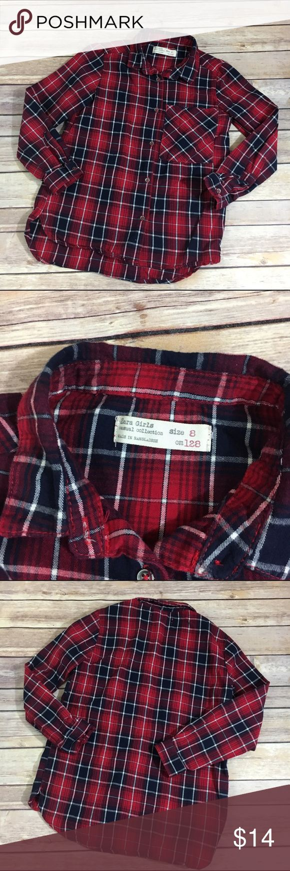 Zara Girls Red Plaid Brushed Cotton Shirt 8 Zara Girls Red Plaid Brushed Cotton Shirt 8   Super cute - great for fall.  Very fitted and does not run big.  Brushed cotton.  Great condition.  #red #plaid #shirt #buttonup #fall #brushedcotton #itsfallyall #zara #zaragirls Zara Shirts & Tops Button Down Shirts