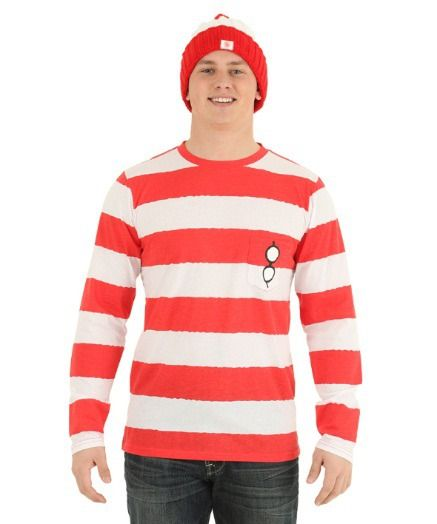 This is a perfect idea for a costume party where you want to stay warm and comfy! Where's Waldo costume shirt.