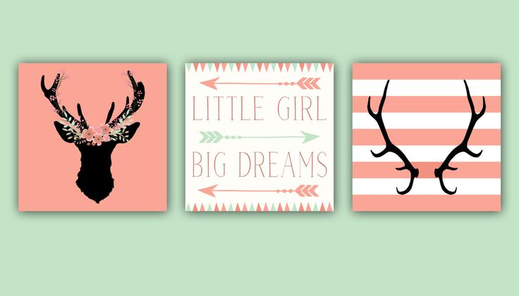 Baby Girl Nursery Decor - Antlers - Deer Head - Arrows -Little Girl Big Dreams - Nursery Quote Set of Three Prints - Art for little girls by ArtsyPumpkin on Etsy